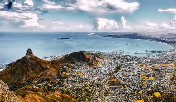 capetown panorama signal hill - table mountain national park stock pictures, royalty-free photos & images