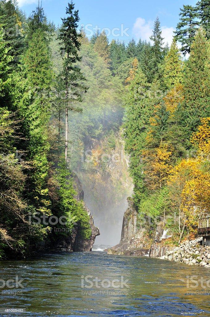 Capilano Creek in the autumn stock photo