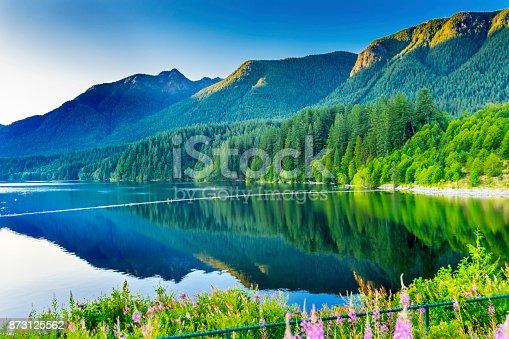 Capilano Reservoir Lake Dam Green Mountains Vancouver British Columbia Canada Pacific Northwest