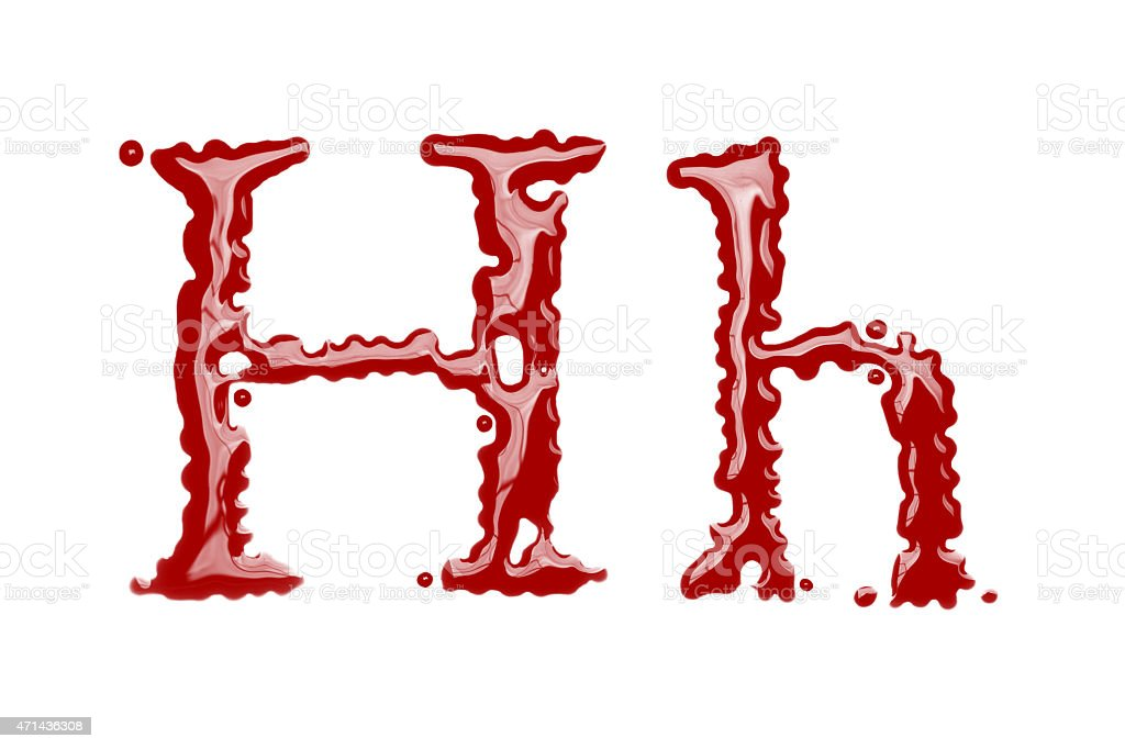 Capital and lowercase letter H made from blood stock photo