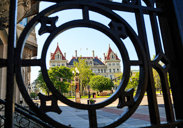 Capital building through grating downtown Albany NY stock photo