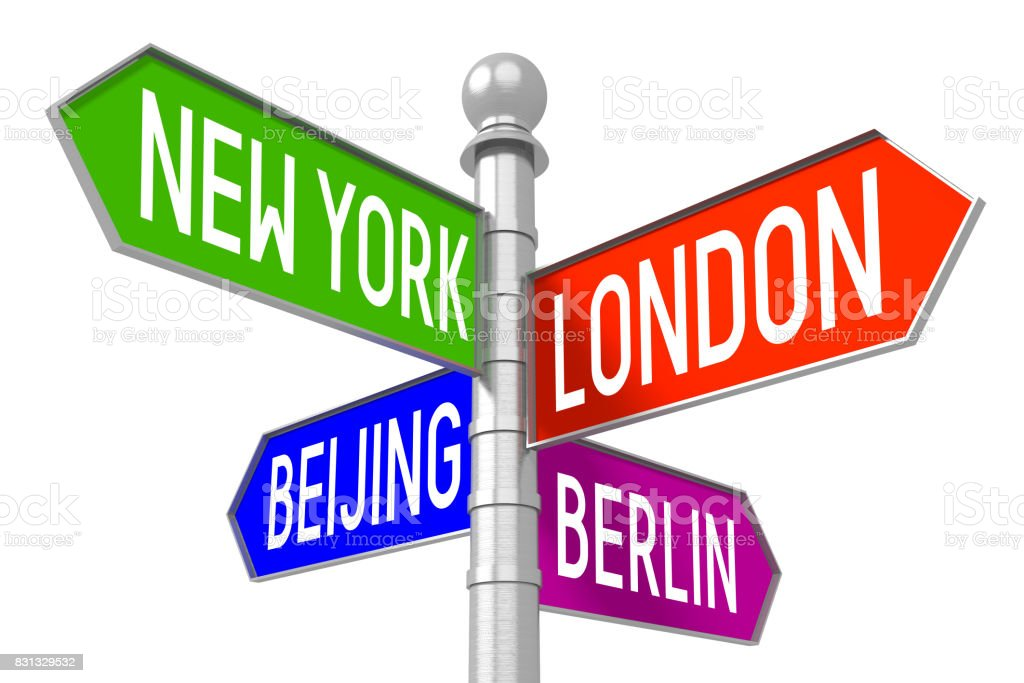 Capital cities - colorful signpost stock photo