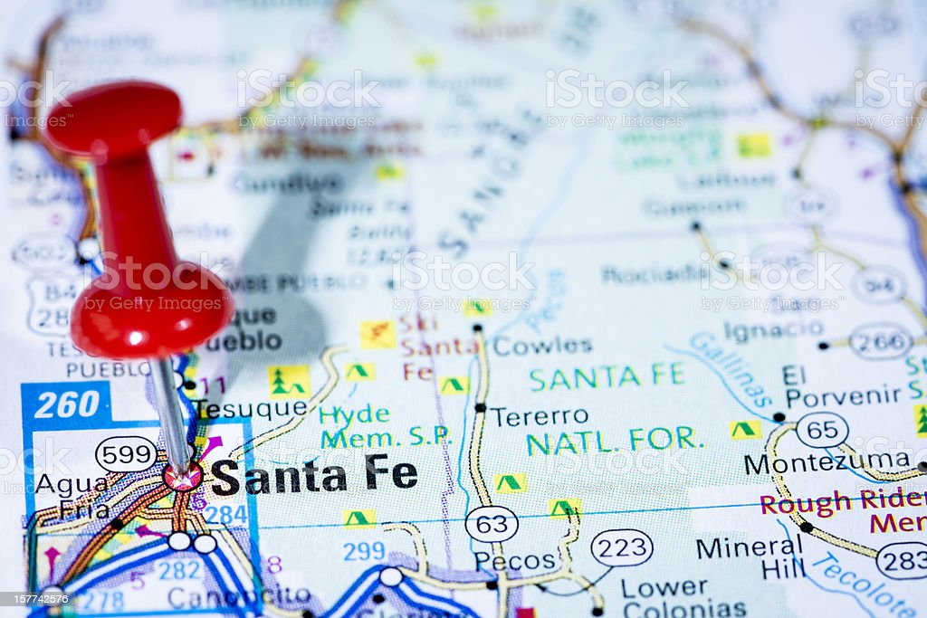 Us Capital Cities Map Series Santa Fe New Mexico Nm Stock Photo - Us-capital-cities-map