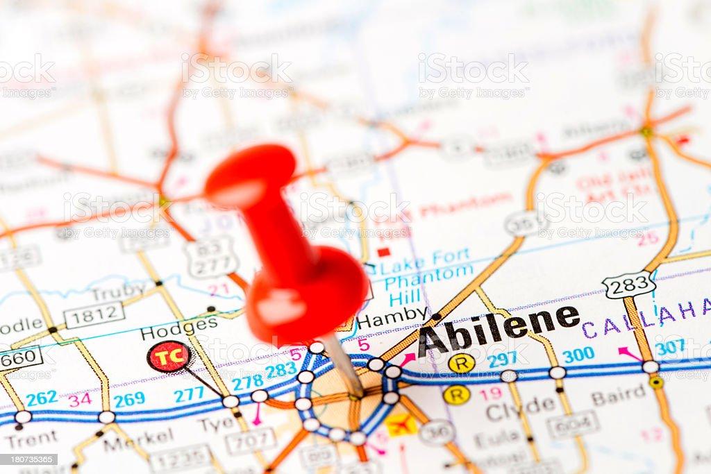 US capital cities on map series: Abilene, Texas, TX stock photo