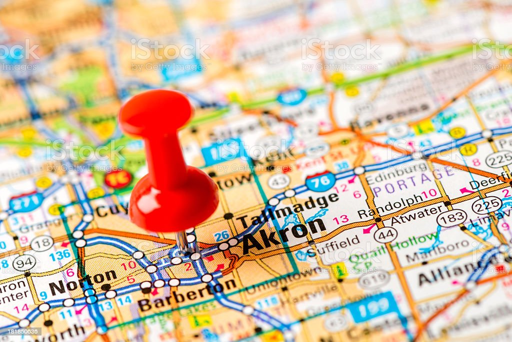 Us Capital Cities On Map Series Akron Ohio Stock Photo - Akron on us map