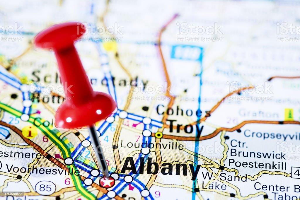 Us Capital Cities On Map Series Albany New York Ny Stock Photo ... on colonie ny map, albony to new york city map, upstate ny casino map,