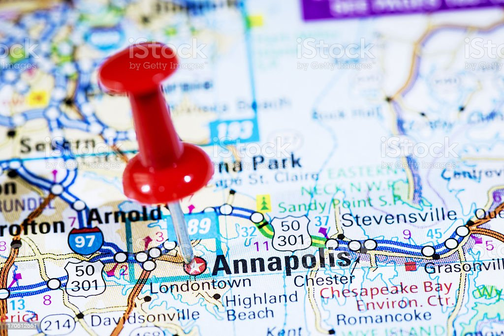 Us Capital Cities On Map Series Annapolis Maryland Md Stock Photo