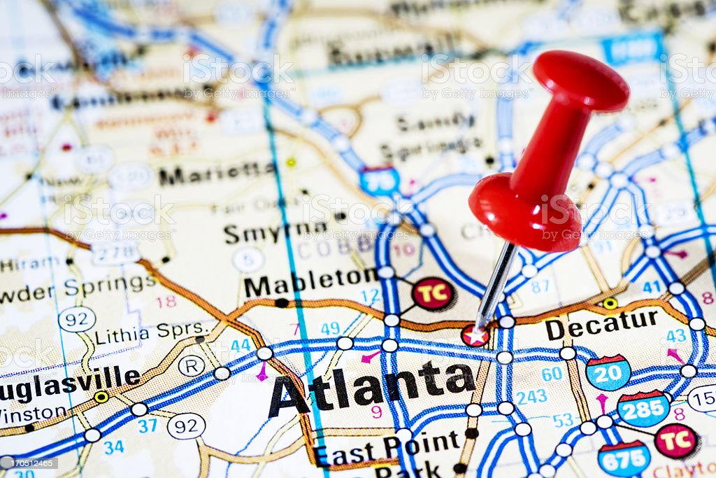 Us Capital Cities On Map Series Atlanta Georgia Ga Stock Photo - Atlanta-us-map