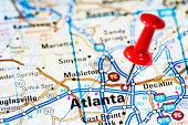 US capital cities on map series: Atlanta, Georgia, GA