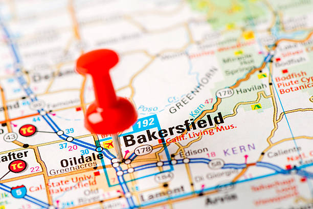 US capital cities on map series: Bakersfield, CA stock photo