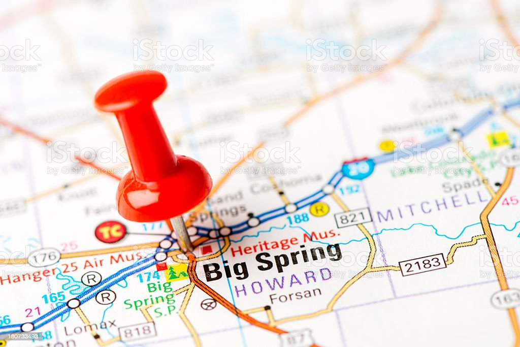 Map Of Texas Big Cities.Us Capital Cities On Map Series Big Spring Texas Tx Stock Photo