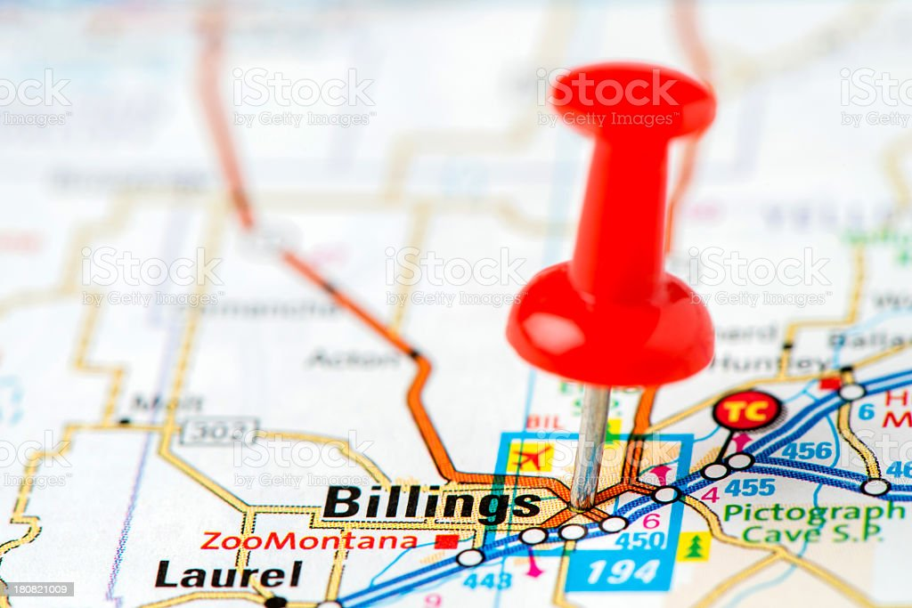 US capital cities on map series: Billings, Montana stock photo