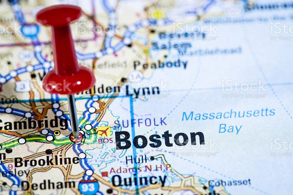 US capital cities on map series: Boston, Massachusetts, MA royalty-free stock photo