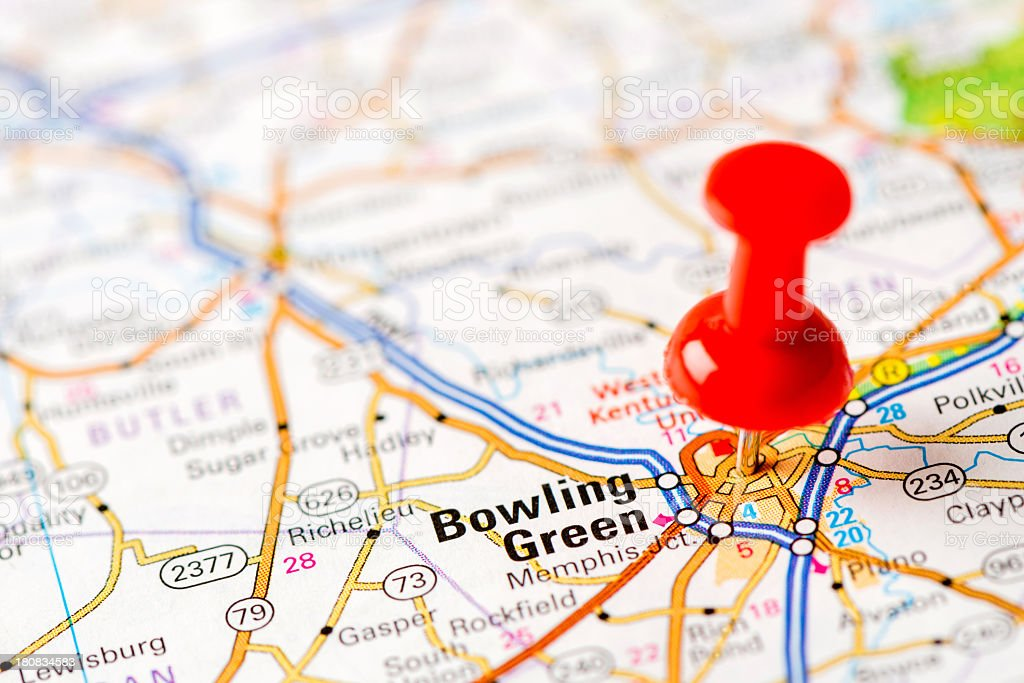US capital cities on map series: Bowling Green, KY stock photo