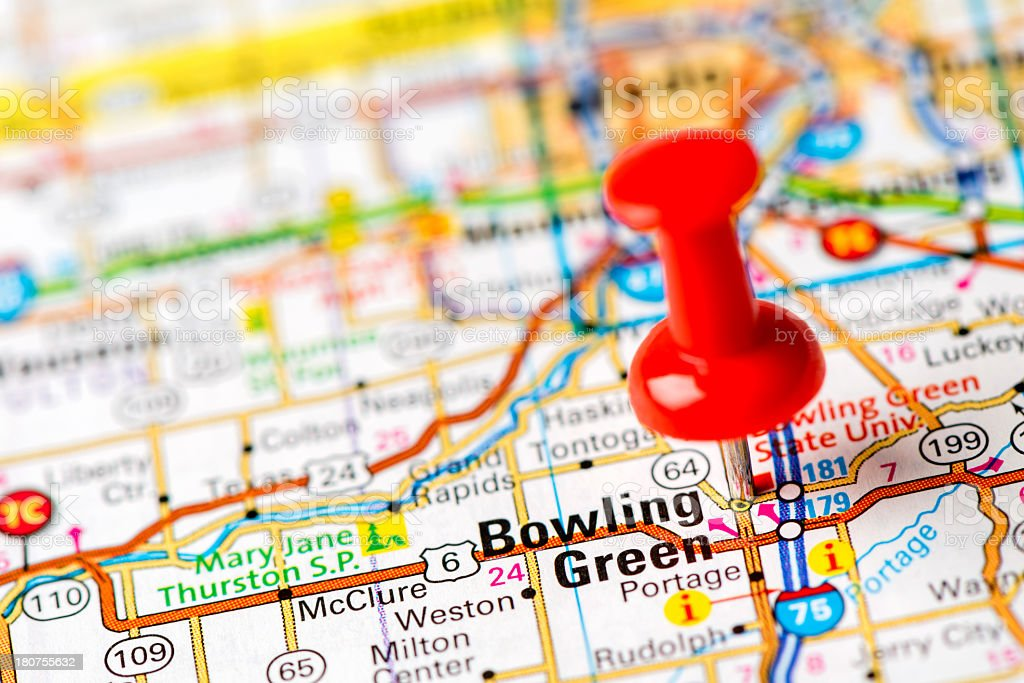 US capital cities on map series: Bowling Green, OH stock photo