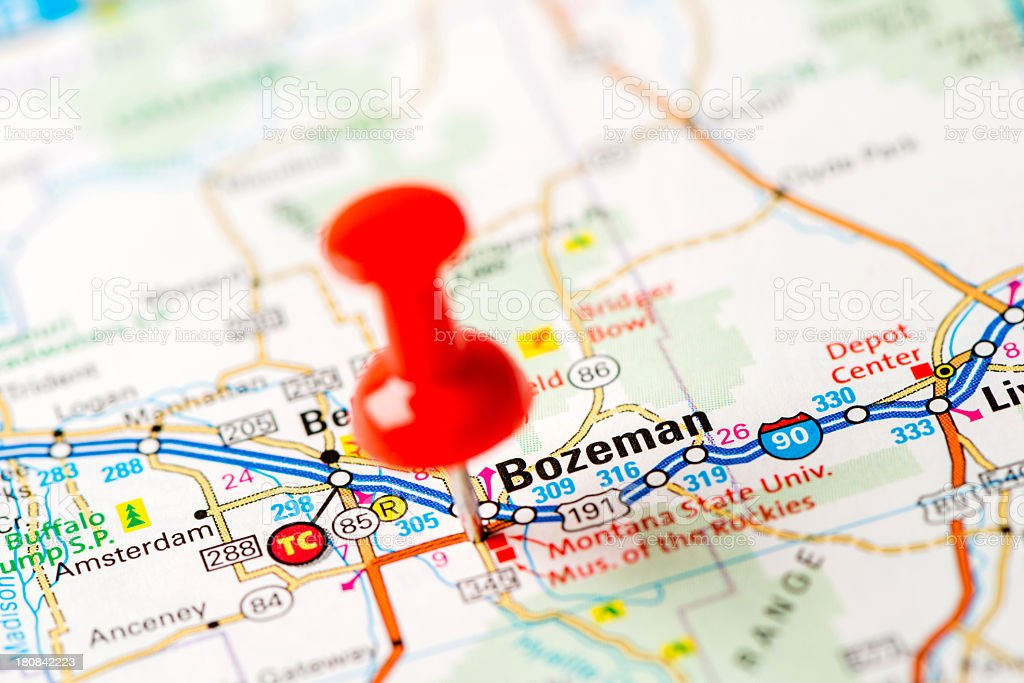 US capital cities on map series: Bozeman, MT stock photo
