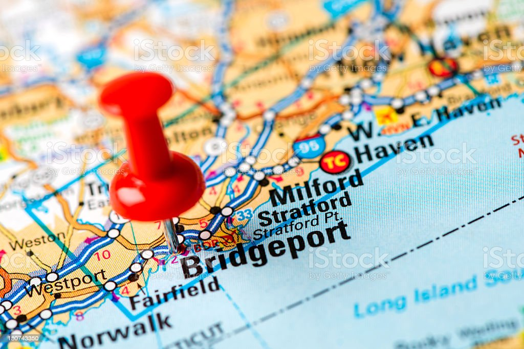 US capital cities on map series: Bridgeport, Connecticut stock photo
