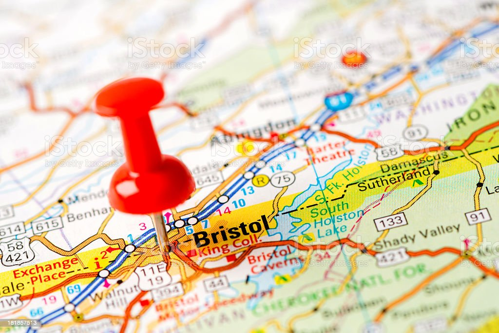 Us Capital Cities On Map Series Bristol Tn Stock Photo More
