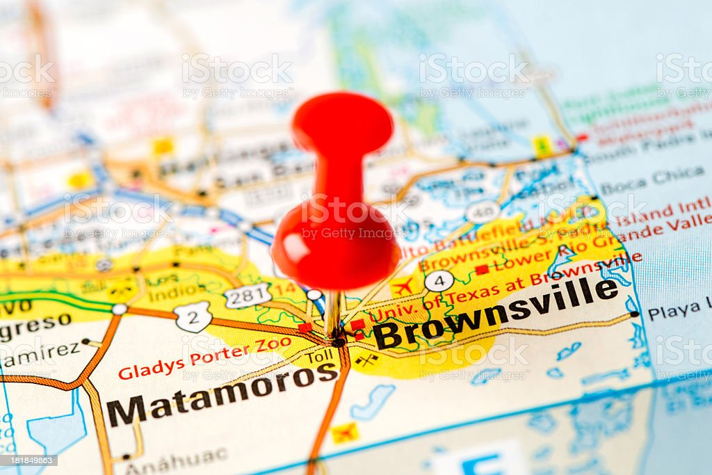 US capital cities on map series: Brownsville, TX stock photo