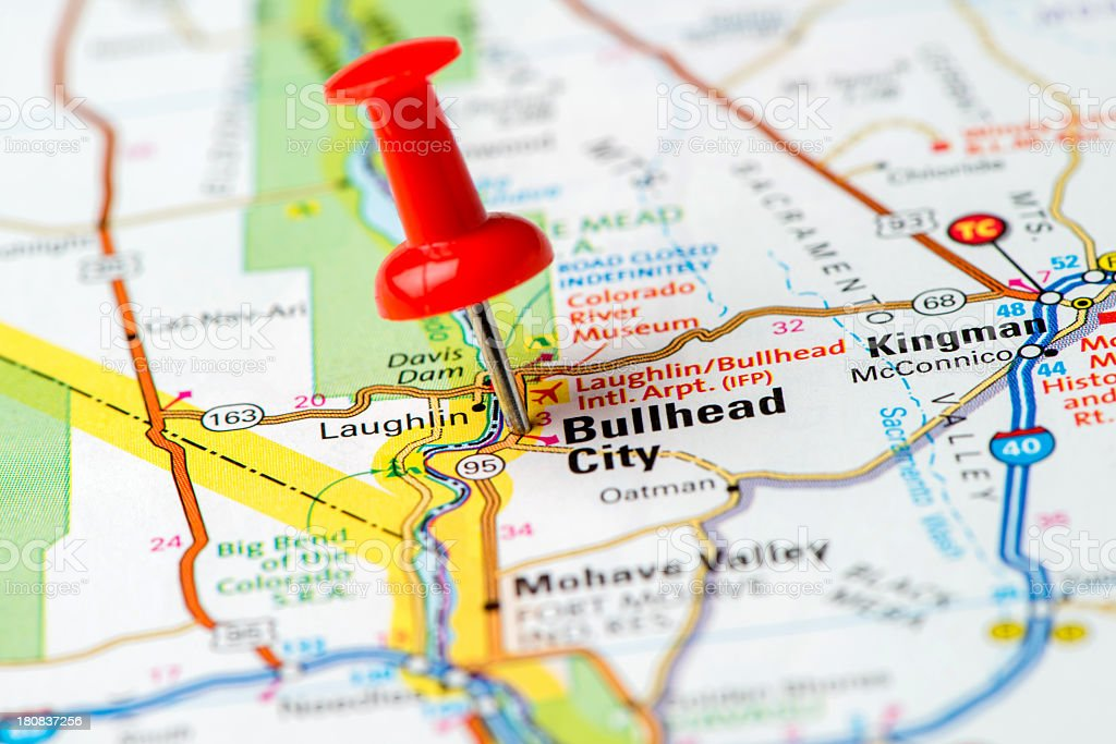 Map Of Arizona Bullhead City.Us Capital Cities On Map Series Bullhead City Arizona Az Stock Photo