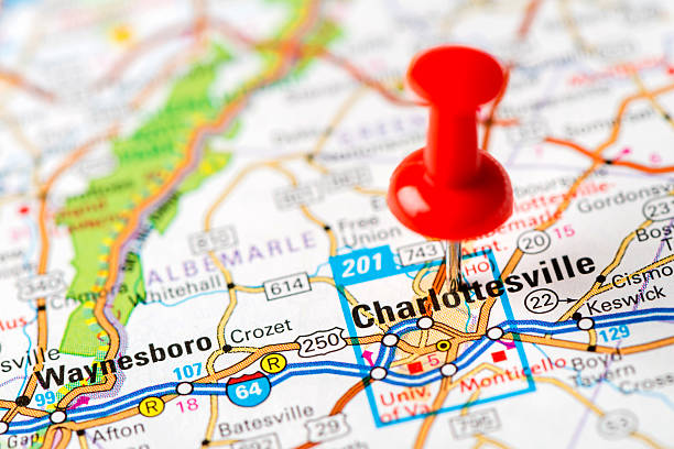 US capital cities on map series: Charlottesville, VA http://farm8.staticflickr.com/7189/6818724910_54c206caf8.jpg charlottesville stock pictures, royalty-free photos & images