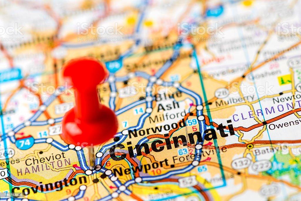 Fotografia De Capital Cities En El Mapa De Serie Cincinnati Ohio Y