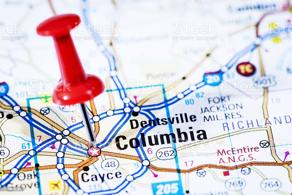 US capital cities on map series: Columbia, South Carolina, SC royalty-free stock photo