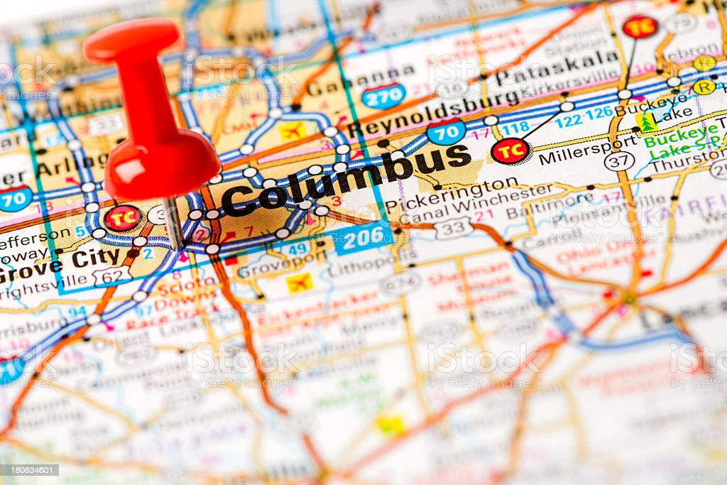Us Capital Cities On Map Series Columbus Ohio Stock Photo More
