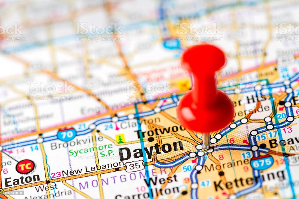 US capital cities on map series: Dayton, OH stock photo