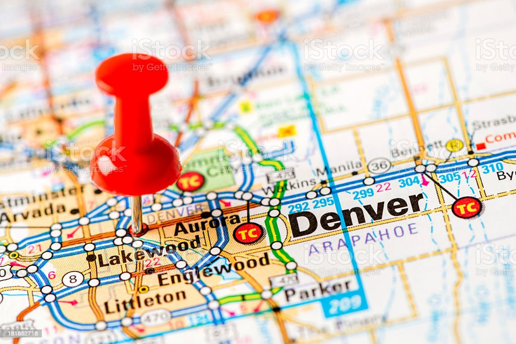 US capital cities on map series: Denver, CO stock photo