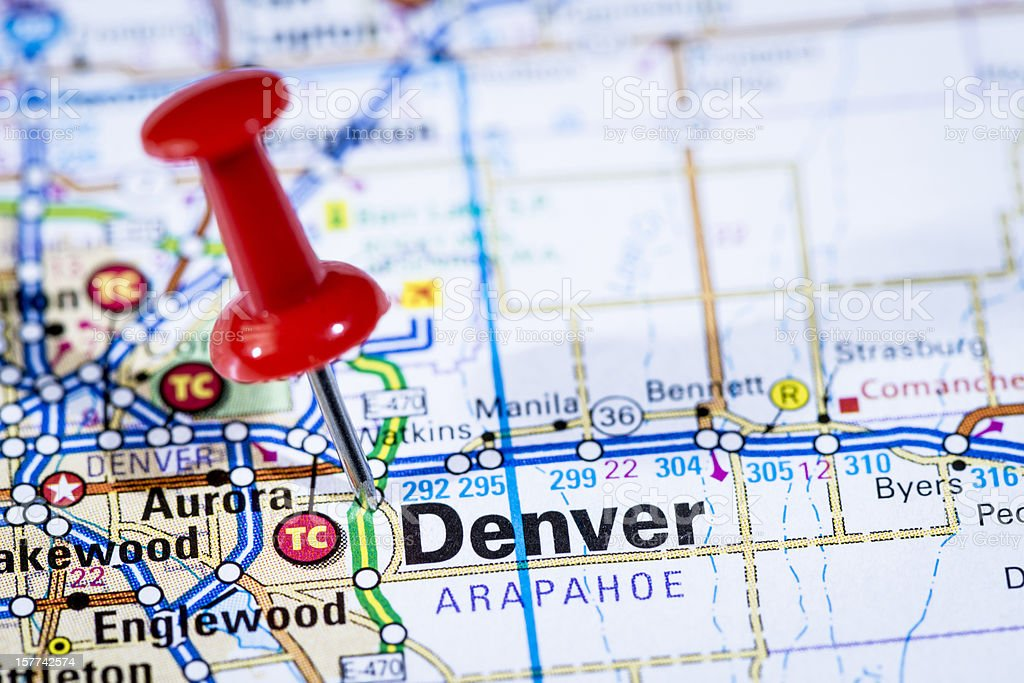 US capital cities on map series: Denver, Colorado, CO stock photo