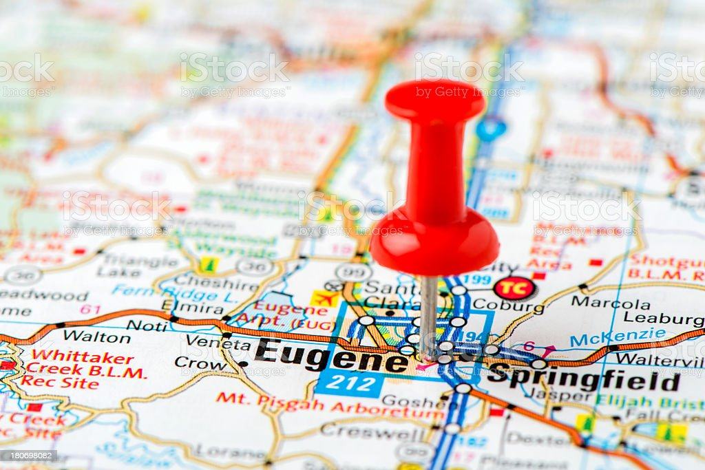 Capital Of Oregon Map.Us Capital Cities On Map Series Eugene Oregon Stock Photo More