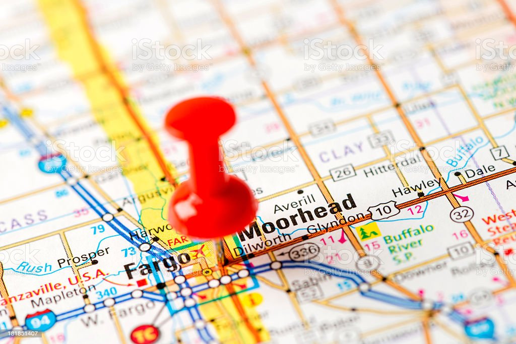 US capital cities on map series: Fargo, Moorhead, ND royalty-free stock photo