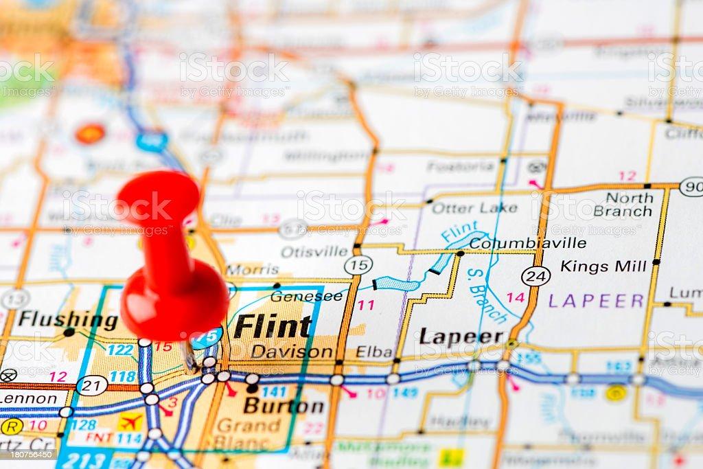 US capital cities on map series: Flint, MI stock photo