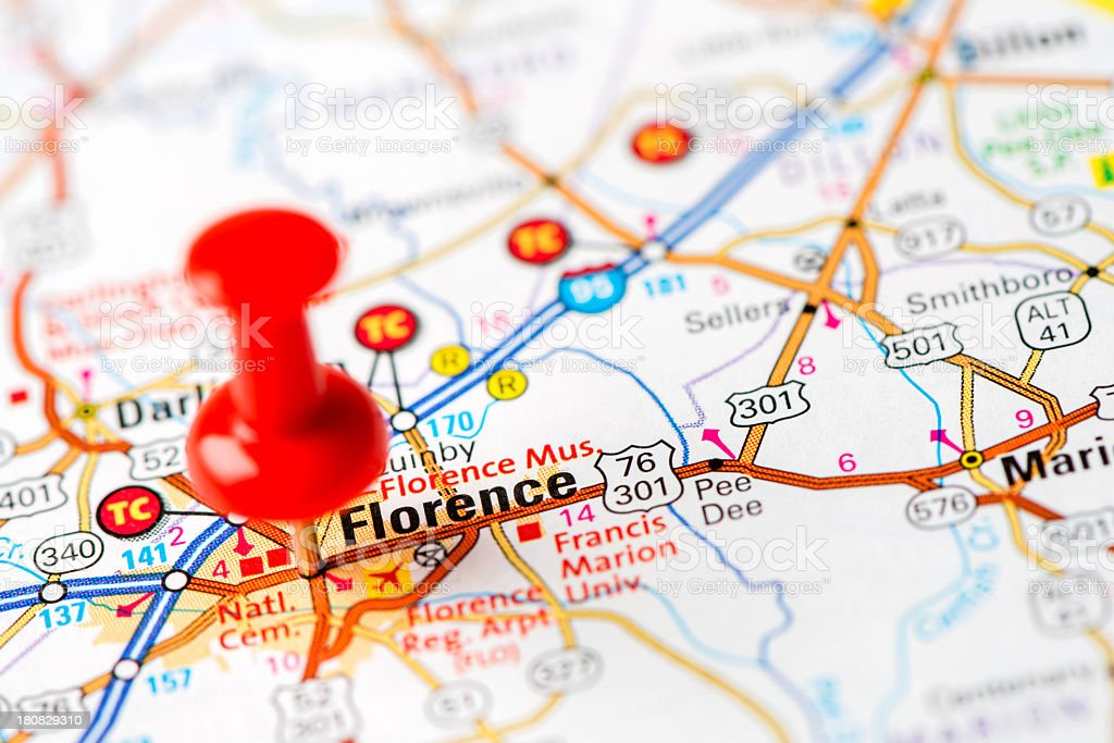 Us Capital Cities On Map Series Florence Sc Stock Photo - 1808 map of the us