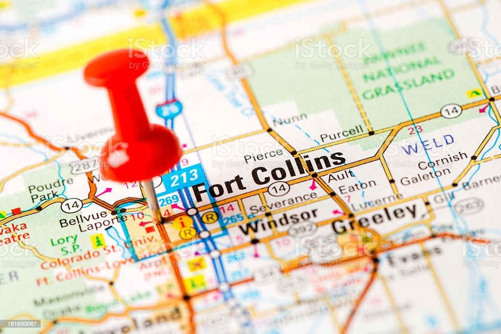 US capital cities on map series: Fort Collins, CO stock photo