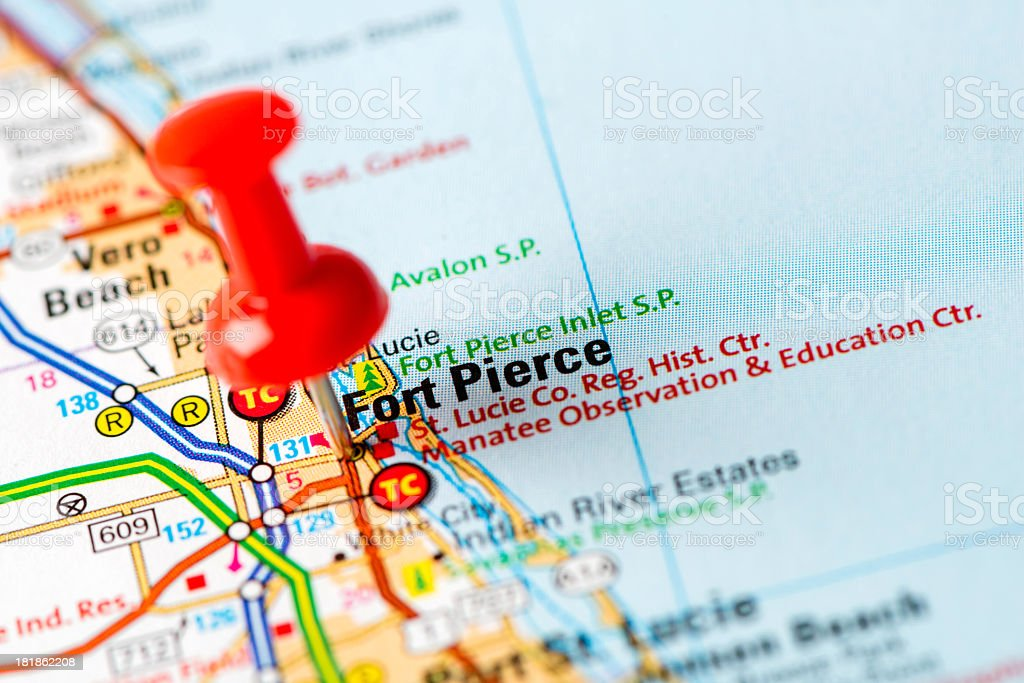 Map Of Fort Pierce Florida.Us Capital Cities On Map Series Fort Pierce Fl Stock Photo More