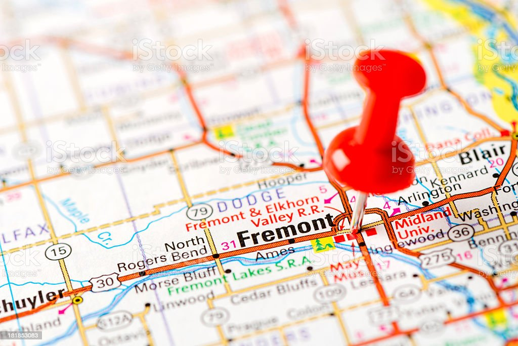US capital cities on map series: Fremont, NE stock photo