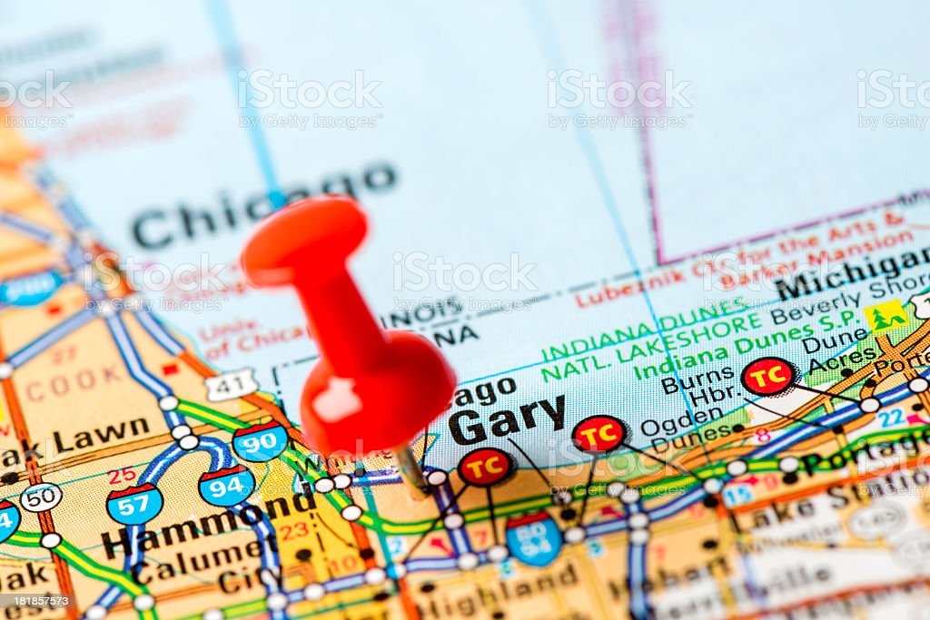 Us Capital Cities On Map Series Gary Indiana Stock Photo More