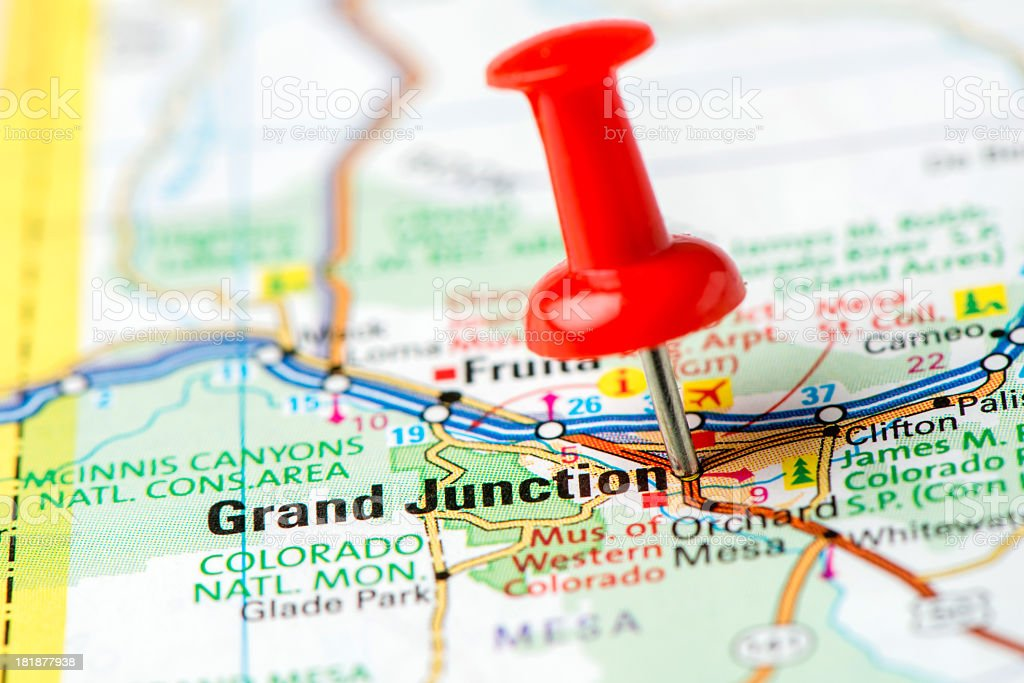 US capital cities on map series: Grand Junction, Colorado, CO stock photo