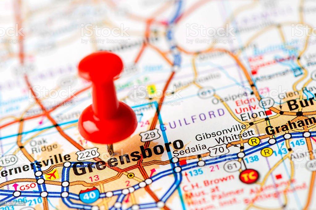 US capital cities on map series: Greensboro, NC stock photo