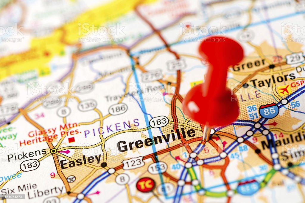 Us Capital Cities On Map Series Greenville Sc Stock Photo More