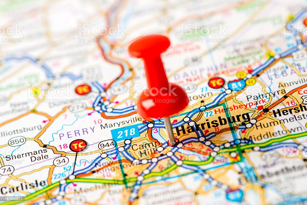 Us Capital Cities On Map Series Harrisburg Pa Stock Photo & More ...
