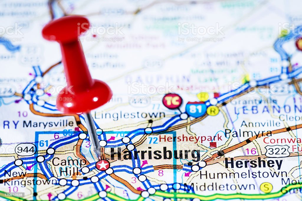 Picture of: Us Capital Cities On Map Series Harrisburg Pennsylvania Pa Stock Photo Download Image Now Istock