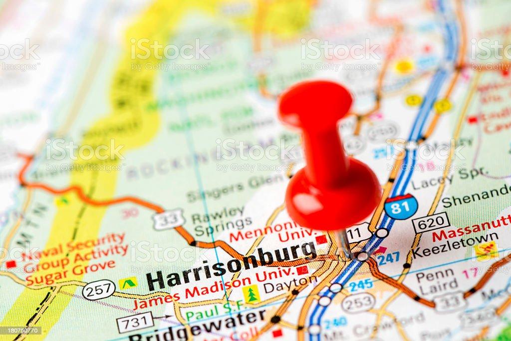 Us Capital Cities On Map Series Harrisonburg Va stock photo