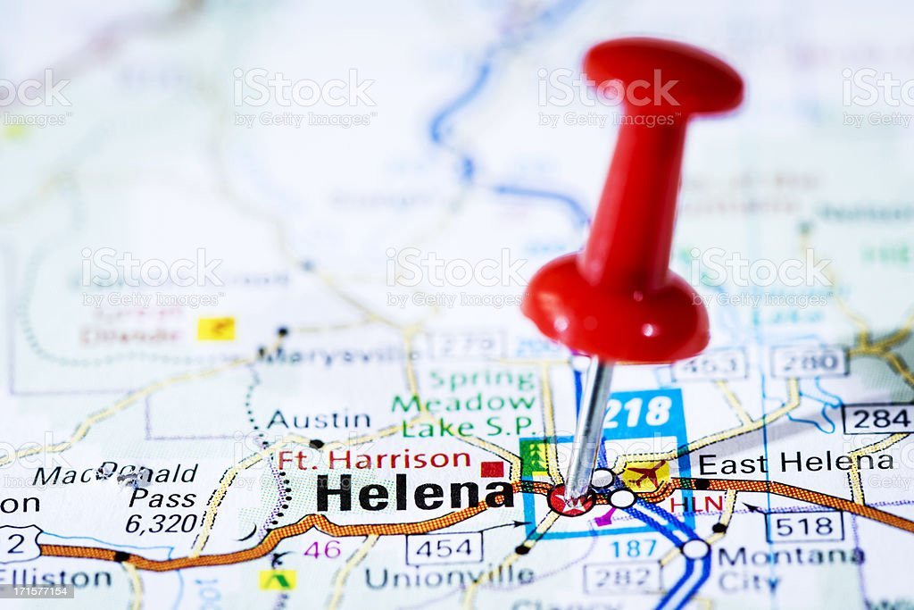 US capital cities on map series: Helena, Montana, MT royalty-free stock photo