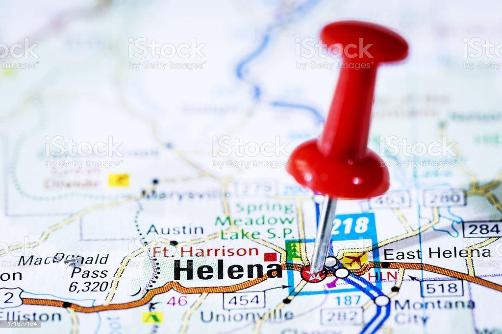 US capital cities on map series: Helena, Montana, MT stock photo