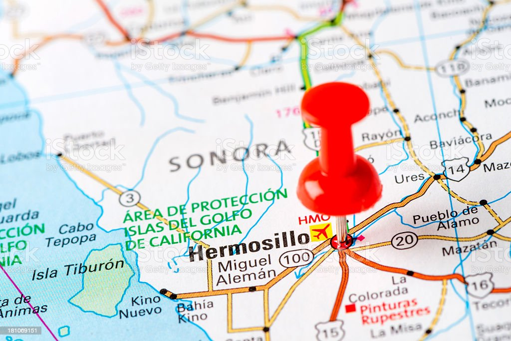 Us Capital Cities On Map Series Hermosillo Mexico Stock Photo More