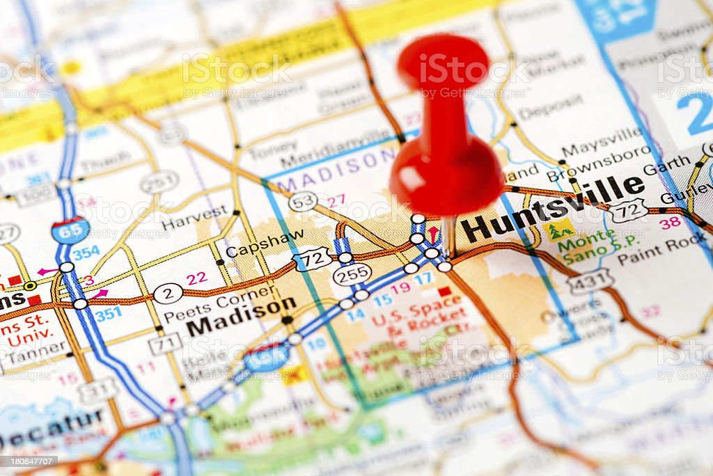 US capital cities on map series: Huntsville, AL stock photo