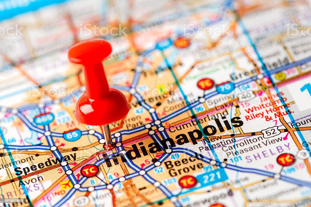 US capital cities on map series: Indianapolis, Indiana stock photo